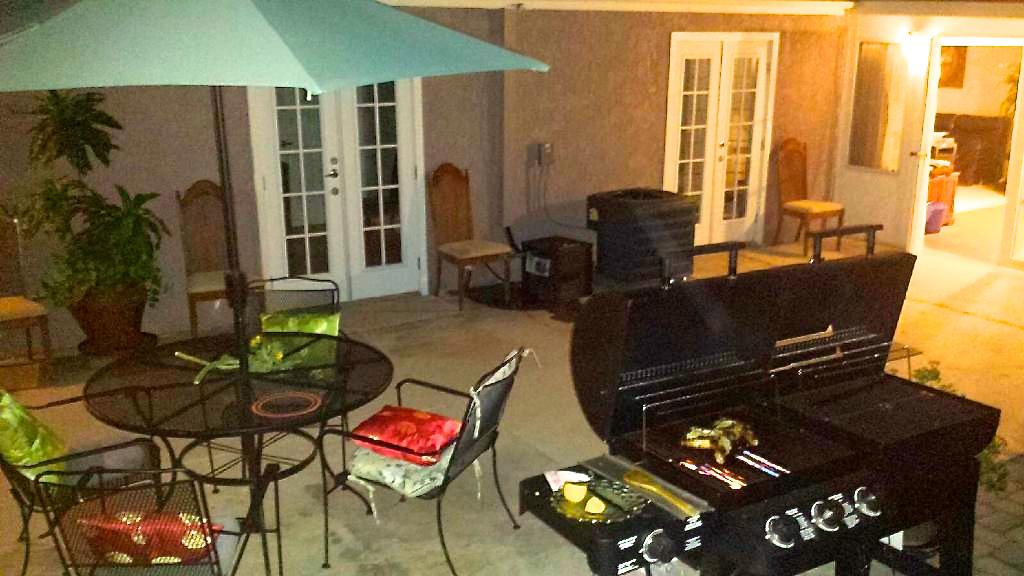 Nighttime activity area with Barbeque