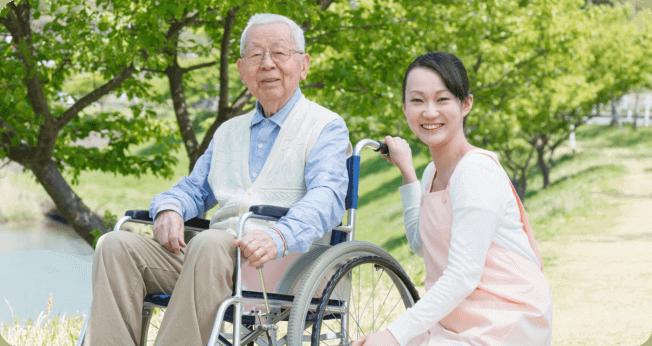 Elder with his caregiver